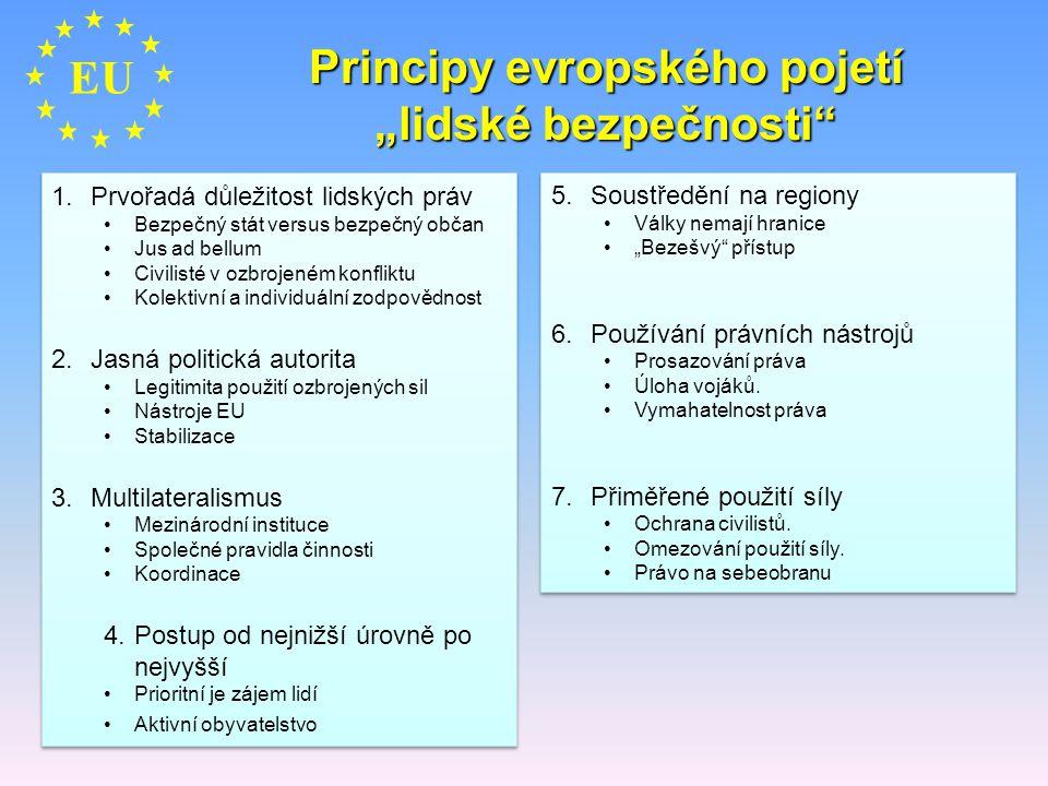 "Principy evropského pojetí ""lidské bezpečnosti"" EU 1.Prvořadá důležitost lidských práv Bezpečný stát versus bezpečný občan Jus ad bellum Civilisté v o"