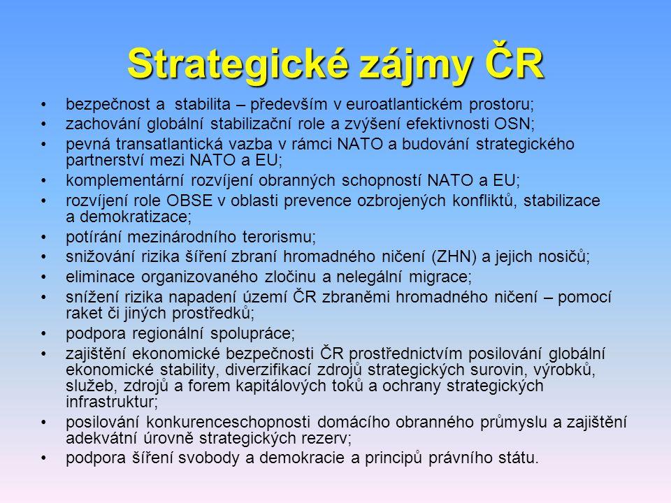Strategické zájmy ČR bezpečnost a stabilita – především v euroatlantickém prostoru; zachování globální stabilizační role a zvýšení efektivnosti OSN; p