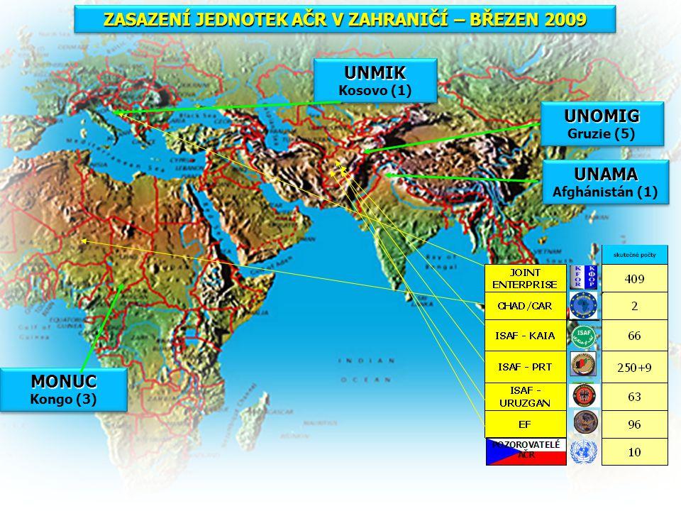 ZASAZENÍ JEDNOTEK AČR V ZAHRANIČÍ – BŘEZEN 2009 MONUC Kongo (3)MONUC UNMIK Kosovo (1)UNMIK UNOMIG Gruzie (5)UNOMIG UNAMA Afghánistán (1)UNAMA
