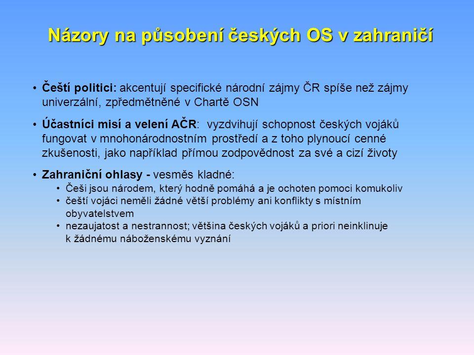 Čeští politici: akcentují specifické národní zájmy ČR spíše než zájmy univerzální, zpředmětněné v Chartě OSN Účastníci misí a velení AČR: vyzdvihují s