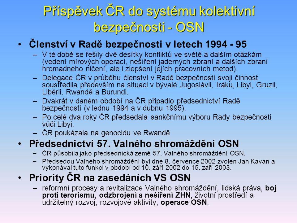 Příspěvek ČR do systému kolektivní bezpečnosti - OSN Členství v Radě bezpečnosti v letech 1994 - 95 –V té době se řešily dvě desítky konfliktů ve svět