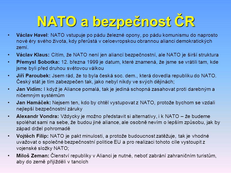 NATO a bezpečnost ČR Václav Havel: NATO vstupuje po pádu železné opony, po pádu komunismu do naprosto nové éry svého života, kdy přerůstá v celoevrops