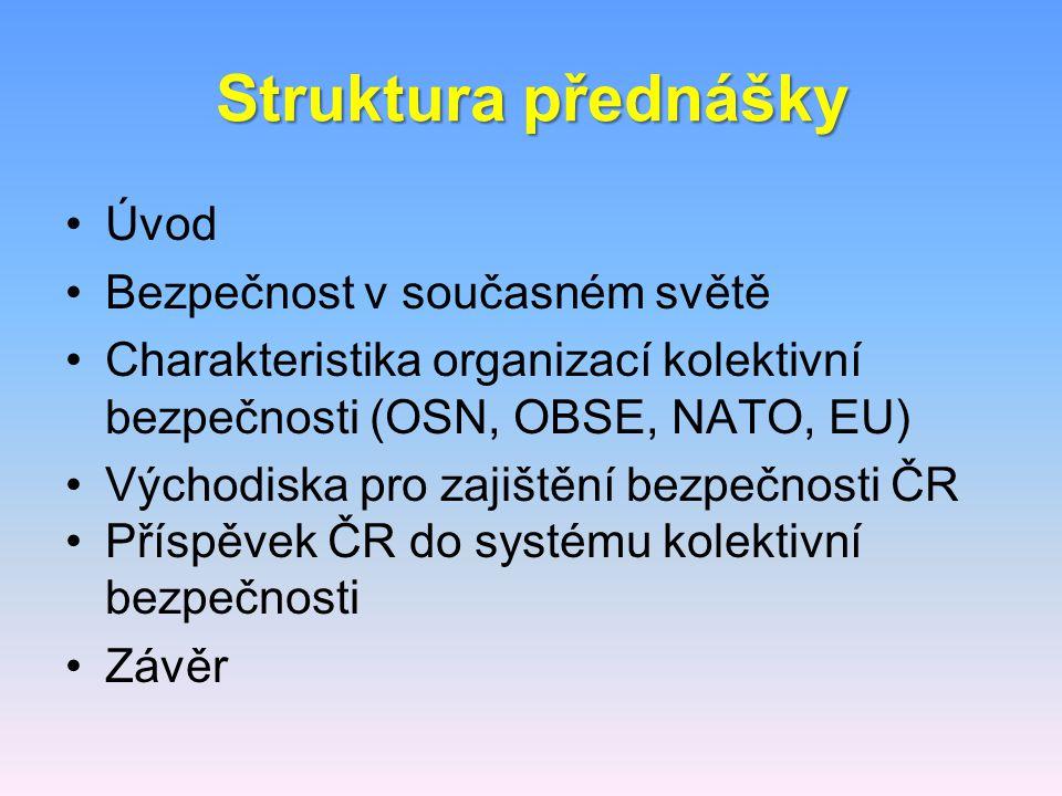 Struktura přednášky Úvod Bezpečnost v současném světě Charakteristika organizací kolektivní bezpečnosti (OSN, OBSE, NATO, EU) Východiska pro zajištění