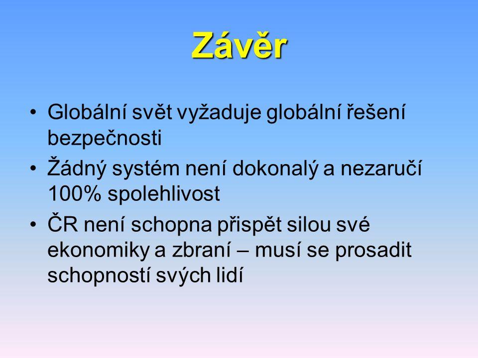 Závěr Globální svět vyžaduje globální řešení bezpečnosti Žádný systém není dokonalý a nezaručí 100% spolehlivost ČR není schopna přispět silou své eko