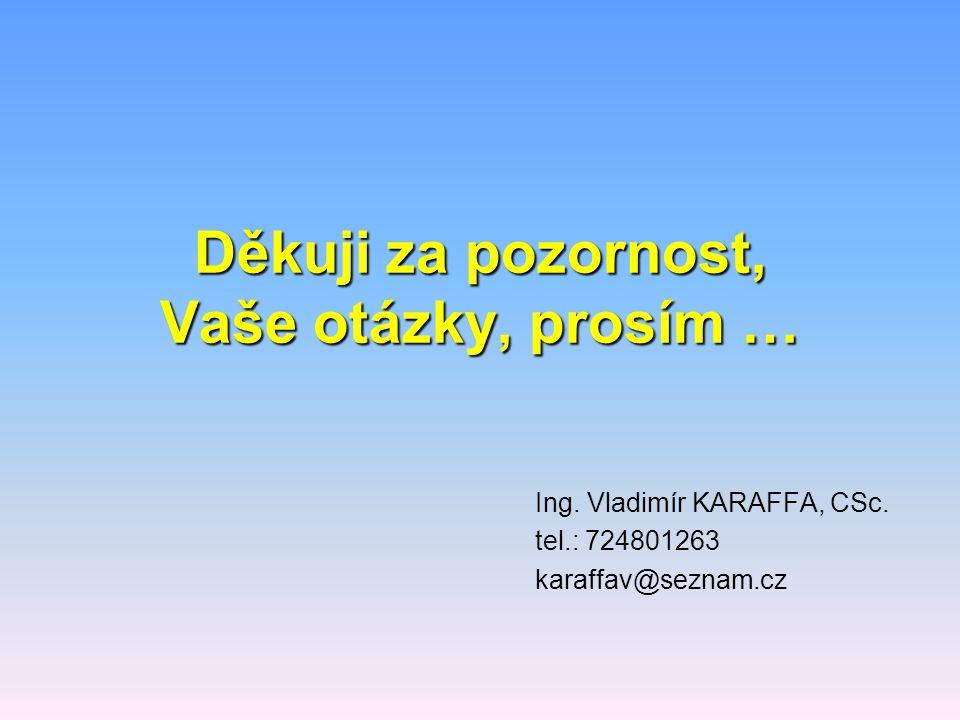 Děkuji za pozornost, Vaše otázky, prosím … Ing. Vladimír KARAFFA, CSc. tel.: 724801263 karaffav@seznam.cz