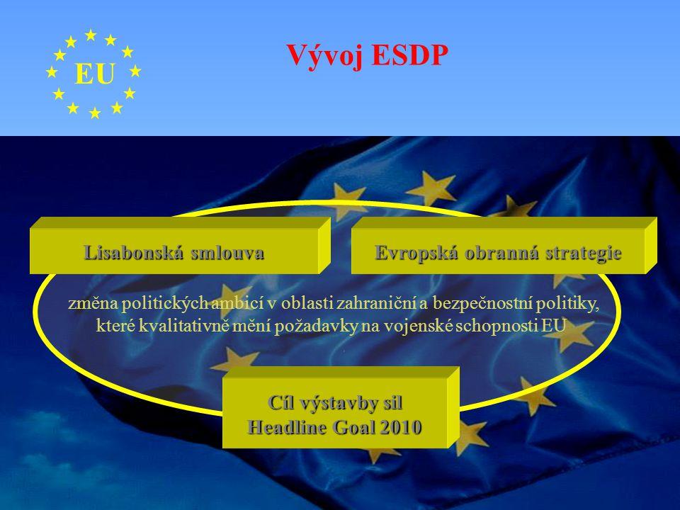 EU změna politických ambicí v oblasti zahraniční a bezpečnostní politiky, které kvalitativně mění požadavky na vojenské schopnosti EU Lisabonská smlou