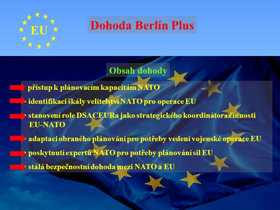 EU Obsah dohody přístup k plánovacím kapacitám NATO identifikaci škály velitelství NATO pro operace EU stanovení role DSACEURa jako strategického koor