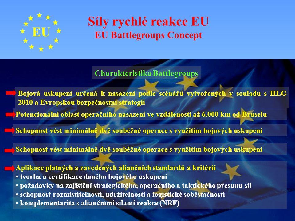 EU Síly rychlé reakce EU EU Battlegroups Concept Charakteristika Battlegroups Bojová uskupení určená k nasazení podle scénářů vytvořených v souladu s