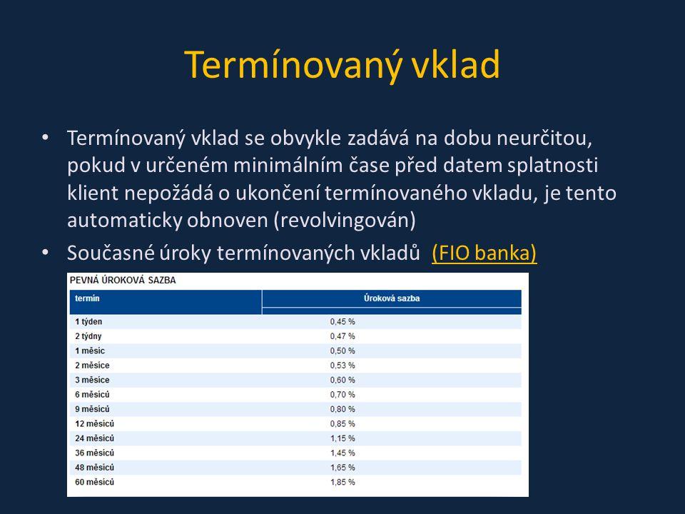 Termínovaný vklad Termínovaný vklad se obvykle zadává na dobu neurčitou, pokud v určeném minimálním čase před datem splatnosti klient nepožádá o ukončení termínovaného vkladu, je tento automaticky obnoven (revolvingován) Současné úroky termínovaných vkladů (FIO banka)(FIO banka)