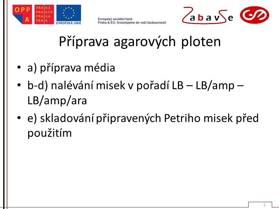 Příprava agarových ploten a) příprava média b-d) nalévání misek v pořadí LB – LB/amp – LB/amp/ara e) skladování připravených Petriho misek před použit