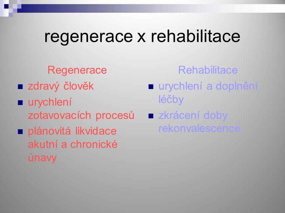 regenerace x rehabilitace Regenerace zdravý člověk urychlení zotavovacích procesů plánovitá likvidace akutní a chronické únavy Rehabilitace urychlení
