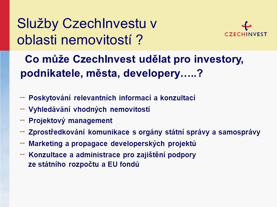 Služby CzechInvestu v oblasti nemovitostí .