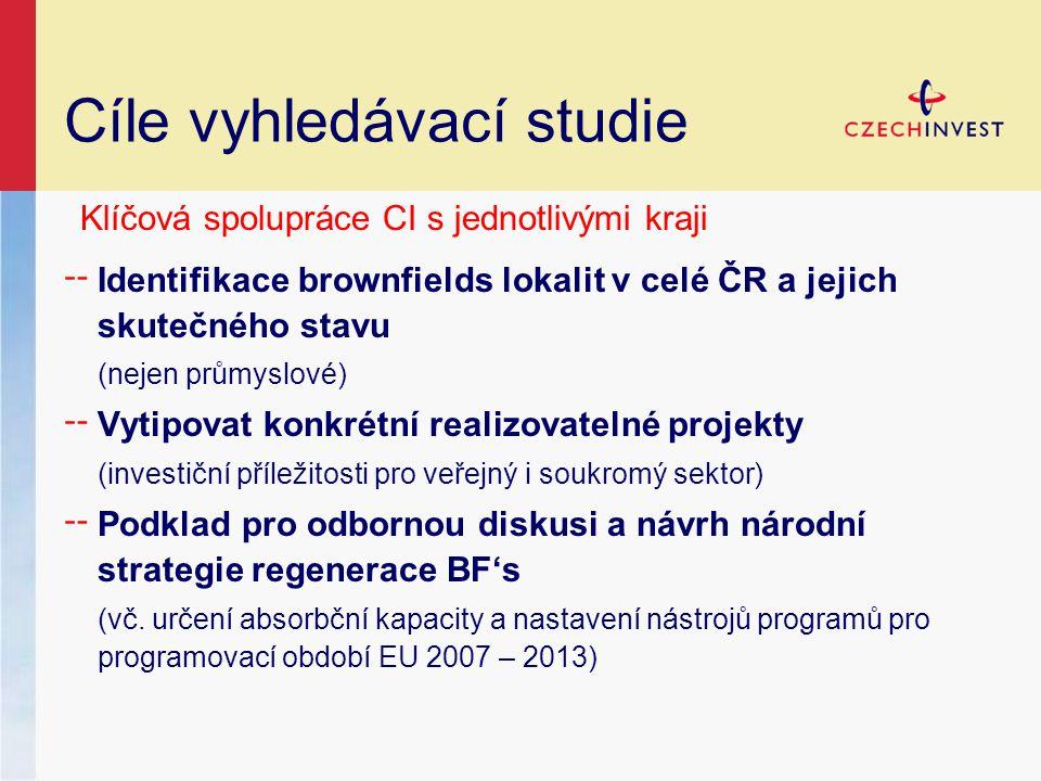 ╌ Identifikace brownfields lokalit v celé ČR a jejich skutečného stavu (nejen průmyslové) ╌ Vytipovat konkrétní realizovatelné projekty (investiční příležitosti pro veřejný i soukromý sektor) ╌ Podklad pro odbornou diskusi a návrh národní strategie regenerace BF's (vč.