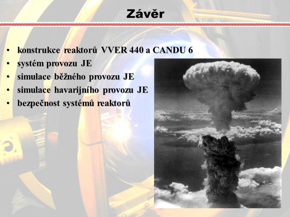 Závěr konstrukce reaktorů VVER 440 a CANDU 6konstrukce reaktorů VVER 440 a CANDU 6 systém provozu JEsystém provozu JE simulace běžného provozu JEsimul