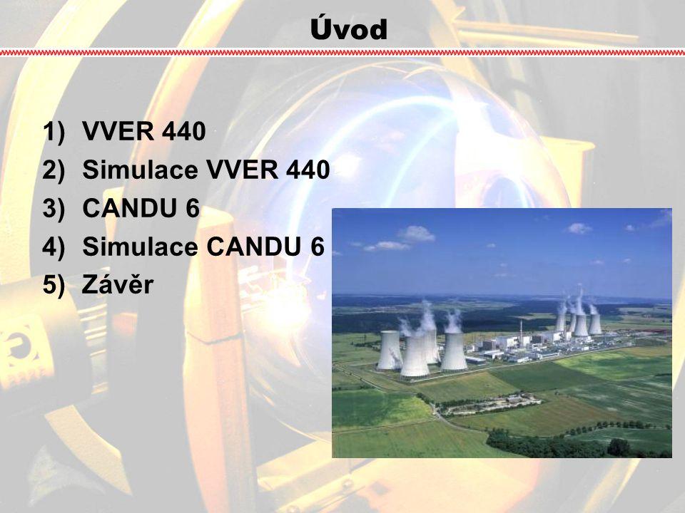 VVER 440 VVER (водо-водяной энергетический реактор = vodo-vodní energetický reaktor)VVER (водо-водяной энергетический реактор = vodo-vodní energetický reaktor) → PWR (Pressurized water reactor) → PWR (Pressurized water reactor) tlakovodní reaktor, chlazený i moderovaný lehkou vodoutlakovodní reaktor, chlazený i moderovaný lehkou vodou P = 1375 MW t a P = 440 MW eP = 1375 MW t a P = 440 MW e tlak v reaktoru 12,25 MPatlak v reaktoru 12,25 MPa teplota chladiva 267°C - 297°Cteplota chladiva 267°C - 297°C palivo → 2% – 4% 235 U ve formě UO 2palivo → 2% – 4% 235 U ve formě UO 2 349 ks kazet349 ks kazet reaktor je instalován v JE Dukovany (4 bloky), JE Mochovce (4 bloky) a JE Jaslovské Bohunice (3 bloky)reaktor je instalován v JE Dukovany (4 bloky), JE Mochovce (4 bloky) a JE Jaslovské Bohunice (3 bloky)