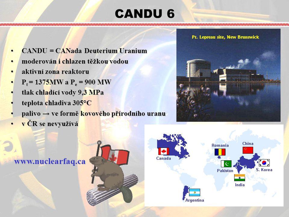 CANDU 6 CANDU = CANada Deuterium UraniumCANDU = CANada Deuterium Uranium moderován i chlazen těžkou vodoumoderován i chlazen těžkou vodou aktivní zona