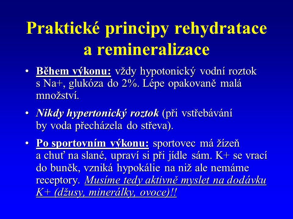 Praktické principy rehydratace a remineralizace Během výkonu: vždy hypotonický vodní roztok s Na+, glukóza do 2%.