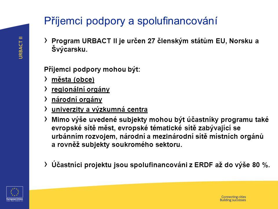 Projekty OP URBACT II - typy Tématické sítěPracovní skupiny Počet partnerů 8 – 126 – 8 Vedoucí partner Město (obec)Veřejný orgán Doba trvání 36 měsíců (6 měsíců vývoj, 30 měsíců implementace) 24 měsíců (4 měsíce vývoj, 20 měsíců implementace) Rozpočet (max.) € 710 000 (garantovaný) € 300 000 (garantovaný)