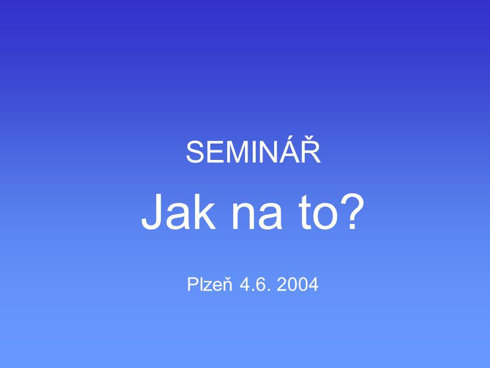 SEMINÁŘ Jak na to? Plzeň 4.6. 2004