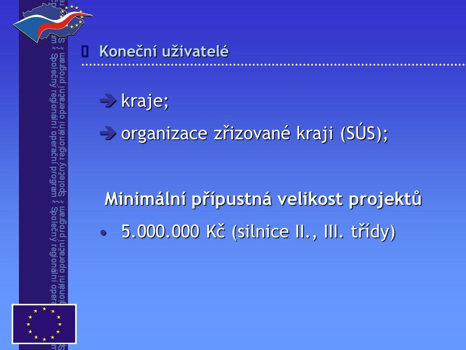 Koneční uživatelé   kraje;  organizace zřizované kraji (SÚS); Minimální přípustná velikost projektů 5.000.000 Kč (silnice II., III. třídy)5.000.000