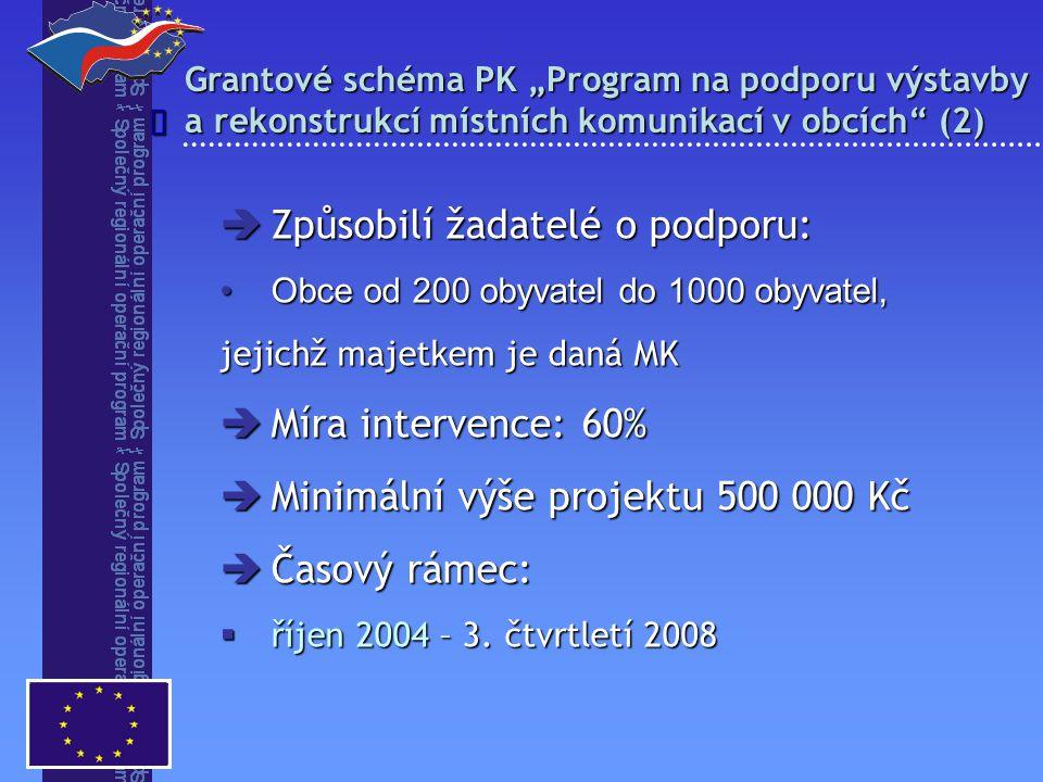 """Grantové schéma PK """"Program na podporu výstavby a rekonstrukcí místních komunikací v obcích (2)   Způsobilí žadatelé o podporu: Obce od 200 obyvatel do 1000 obyvatel,Obce od 200 obyvatel do 1000 obyvatel, jejichž majetkem je daná MK  Míra intervence: 60%  Minimální výše projektu 500 000 Kč  Časový rámec:  říjen 2004 – 3."""