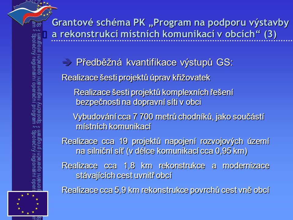 """Grantové schéma PK """"Program na podporu výstavby a rekonstrukcí místních komunikací v obcích"""" (3)   Předběžná kvantifikace výstupů GS: Realizace šest"""