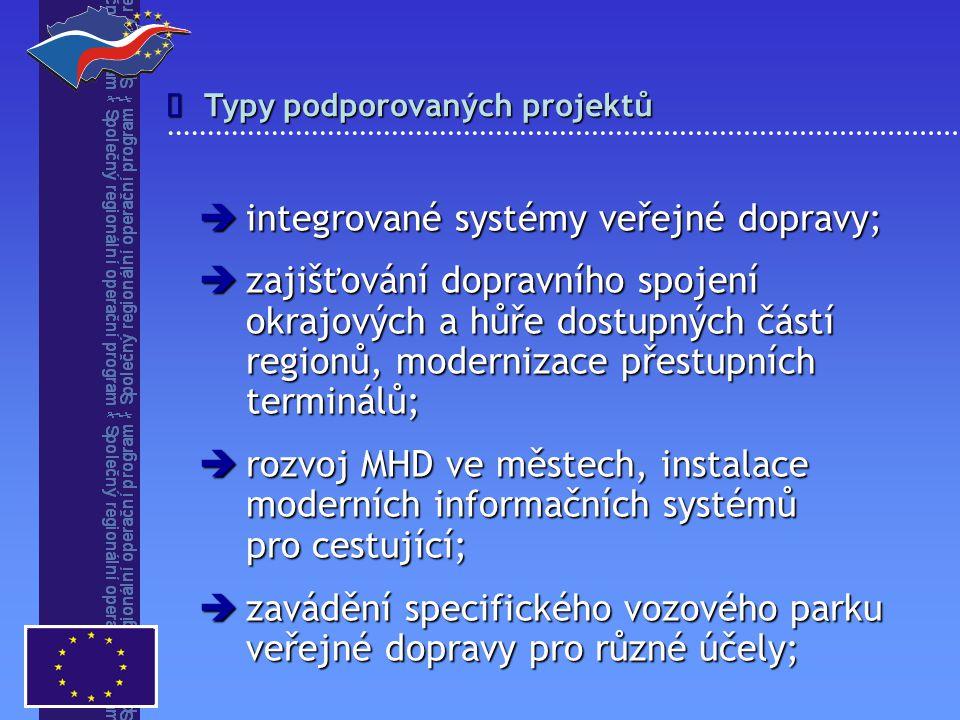 Typy podporovaných projektů   integrované systémy veřejné dopravy;  zajišťování dopravního spojení okrajových a hůře dostupných částí regionů, mode