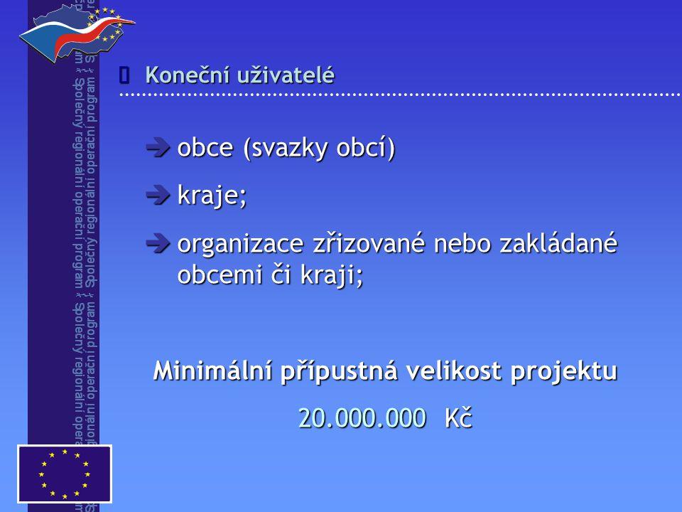 Koneční uživatelé   obce (svazky obcí)  kraje;  organizace zřizované nebo zakládané obcemi či kraji; Minimální přípustná velikost projektu 20.000.000 Kč