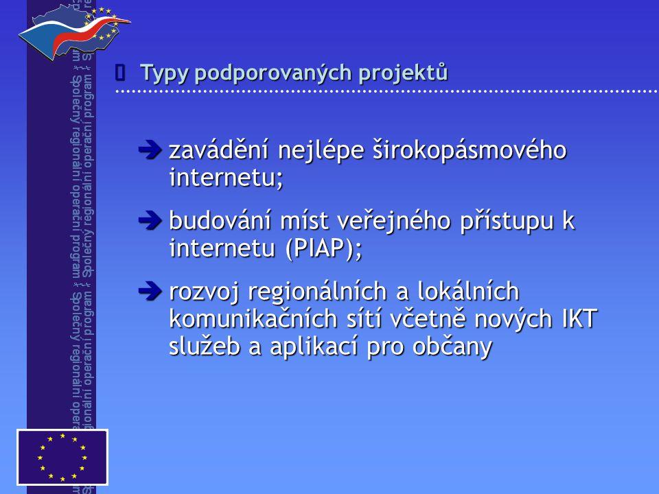 Typy podporovaných projektů   zavádění nejlépe širokopásmového internetu;  budování míst veřejného přístupu k internetu (PIAP);  rozvoj regionální