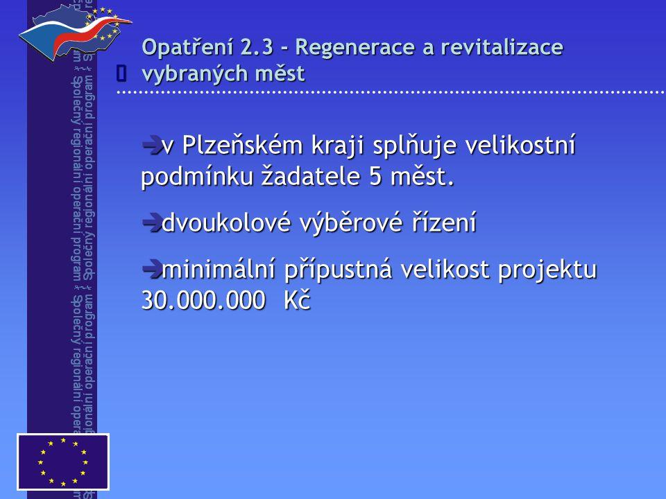  v Plzeňském kraji splňuje velikostní podmínku žadatele 5 měst.  dvoukolové výběrové řízení  minimální přípustná velikost projektu 30.000.000 Kč Op