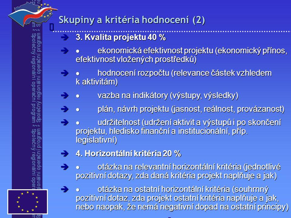 Skupiny a kritéria hodnocení (2)   3. Kvalita projektu 40 %   ekonomická efektivnost projektu (ekonomický přínos, efektivnost vložených prostředků