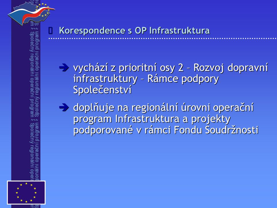 Korespondence s OP Infrastruktura   vychází z prioritní osy 2 – Rozvoj dopravní infrastruktury – Rámce podpory Společenství  doplňuje na regionální úrovni operační program Infrastruktura a projekty podporované v rámci Fondu Soudržnosti