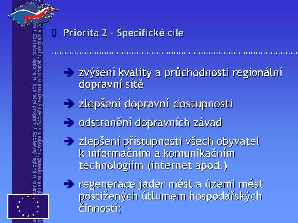 Priorita 2 - Specifické cíle   zvýšení kvality a průchodnosti regionální dopravní sítě  zlepšení dopravní dostupnosti  odstranění dopravních závad  zlepšení přístupnosti všech obyvatel k informačním a komunikačním technologiím (internet apod.)  regenerace jader měst a území měst postižených útlumem hospodářských činností;