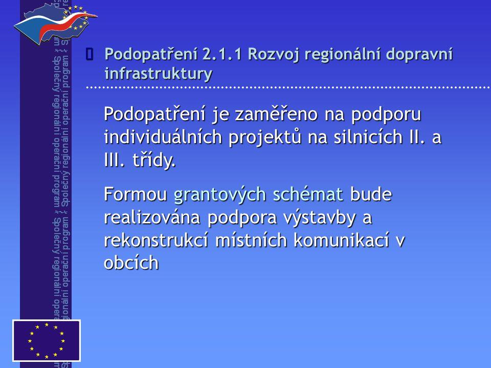 Podopatření 2.1.1 Rozvoj regionální dopravní infrastruktury Podopatření je zaměřeno na podporu individuálních projektů na silnicích II. a III. třídy.