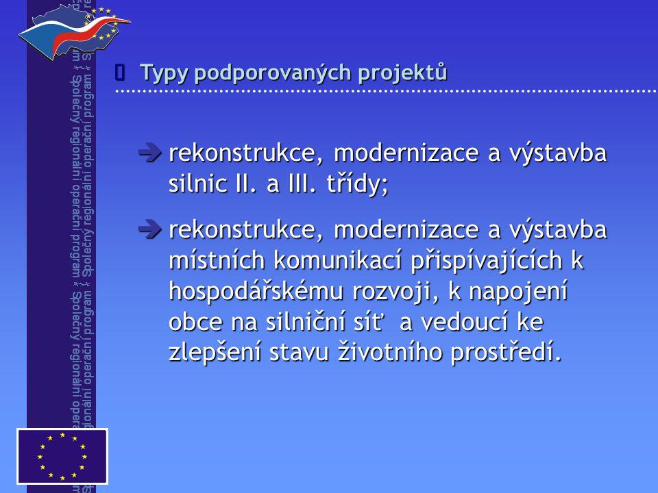 Typy podporovaných projektů   rekonstrukce, modernizace a výstavba silnic II. a III. třídy;  rekonstrukce, modernizace a výstavba místních komunika