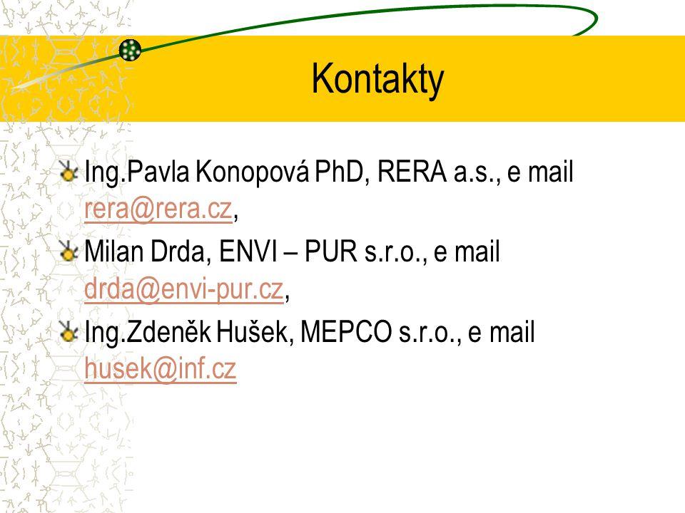 Kontakty Ing.Pavla Konopová PhD, RERA a.s., e mail rera@rera.cz, rera@rera.cz Milan Drda, ENVI – PUR s.r.o., e mail drda@envi-pur.cz, drda@envi-pur.cz Ing.Zdeněk Hušek, MEPCO s.r.o., e mail husek@inf.cz husek@inf.cz