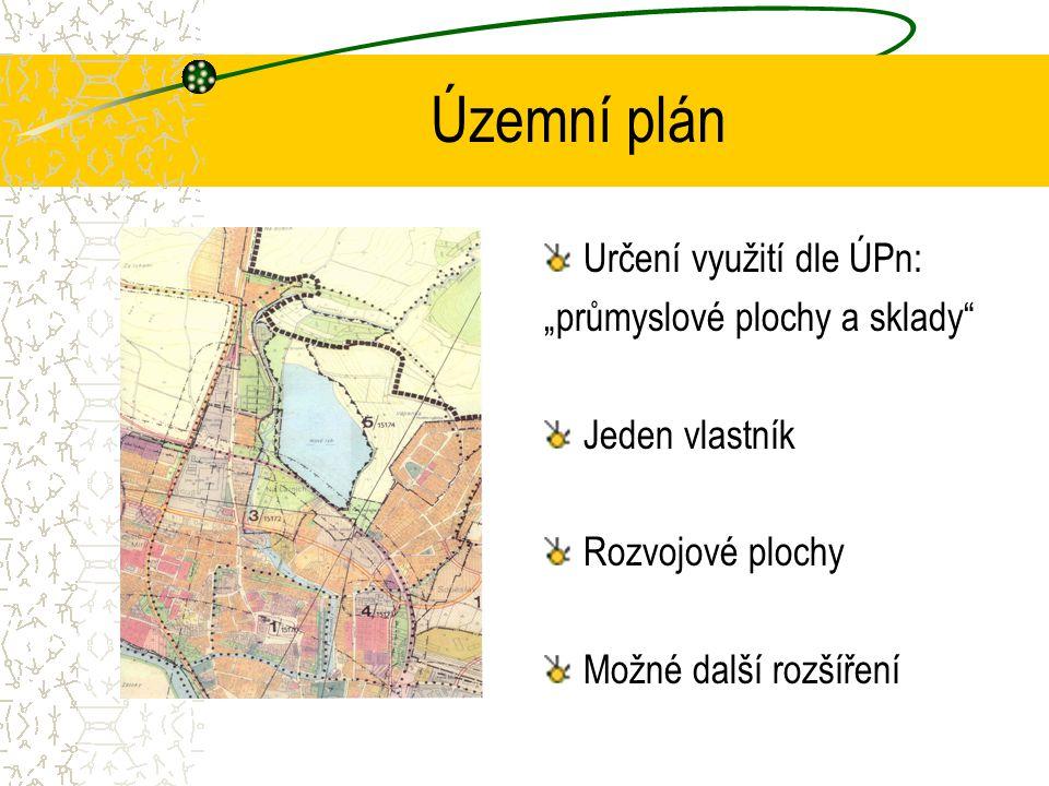 """Územní plán Určení využití dle ÚPn: """"průmyslové plochy a sklady Jeden vlastník Rozvojové plochy Možné další rozšíření"""
