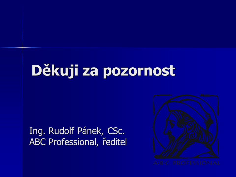 Ing. Rudolf Pánek, CSc. ABC Professional, ředitel Děkuji za pozornost