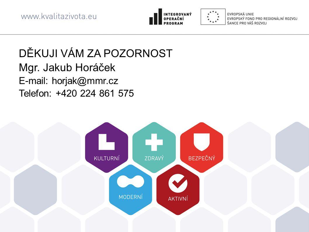 DĚKUJI VÁM ZA POZORNOST Mgr. Jakub Horáček E-mail: horjak@mmr.cz Telefon: +420 224 861 575