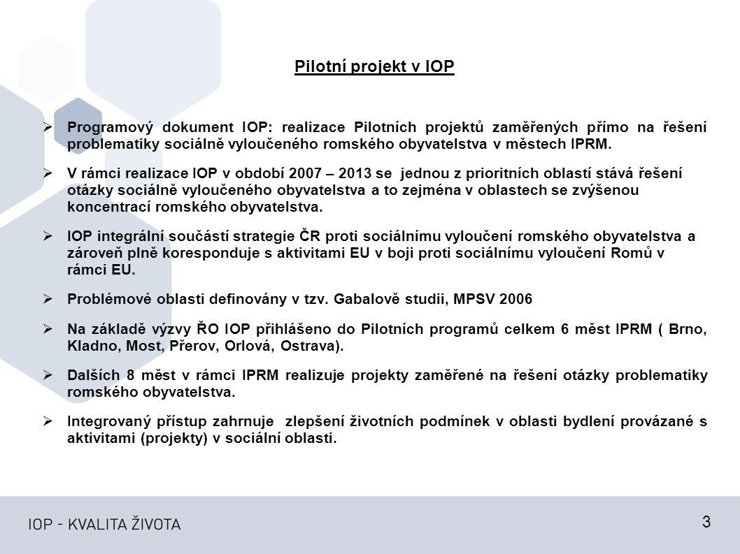 Pilotní projekt v IOP  Programový dokument IOP: realizace Pilotních projektů zaměřených přímo na řešení problematiky sociálně vyloučeného romského obyvatelstva v městech IPRM.