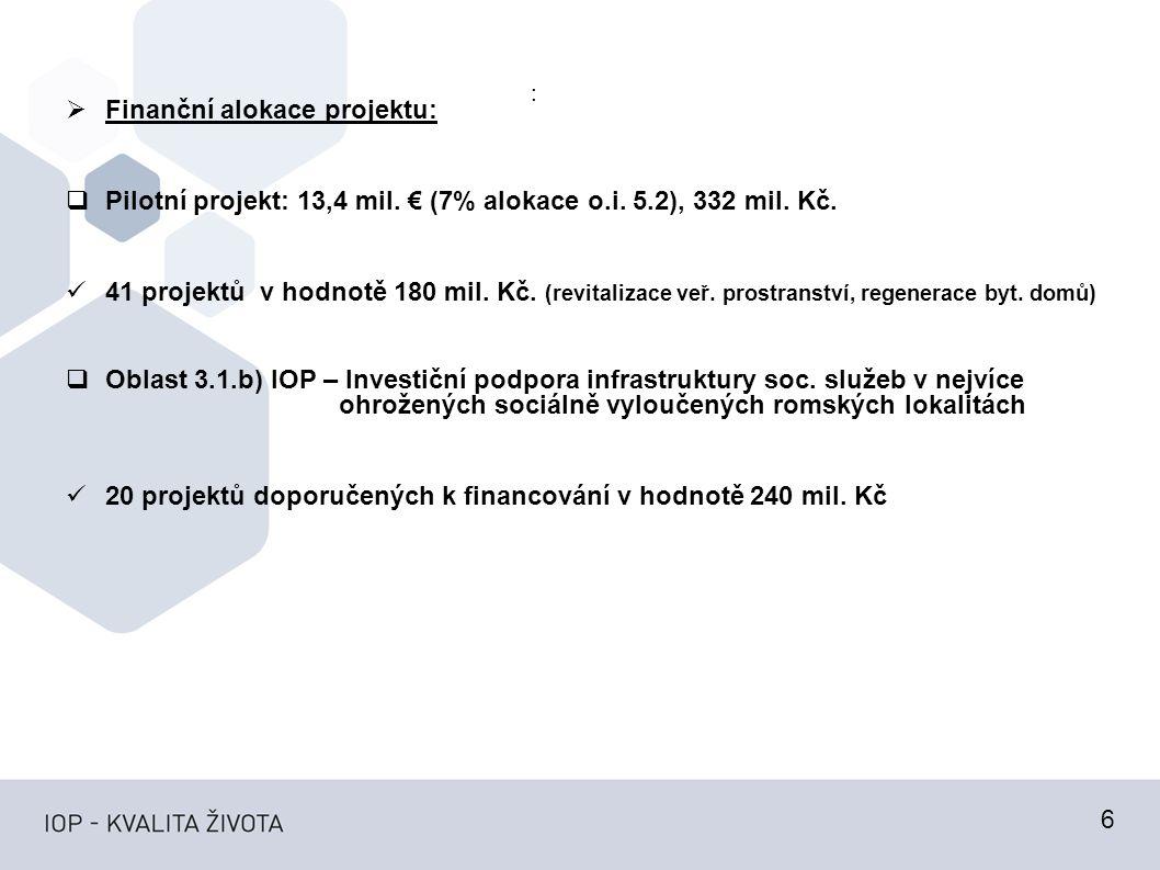 :  Finanční alokace projektu:  Pilotní projekt: 13,4 mil.