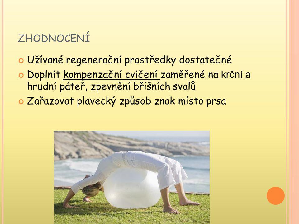ZHODNOCENÍ Užívané regenerační prostředky dostatečné Doplnit kompenzační cvičení zaměřené na krční a hrudní páteř, zpevnění břišních svalů Zařazovat plavecký způsob znak místo prsa