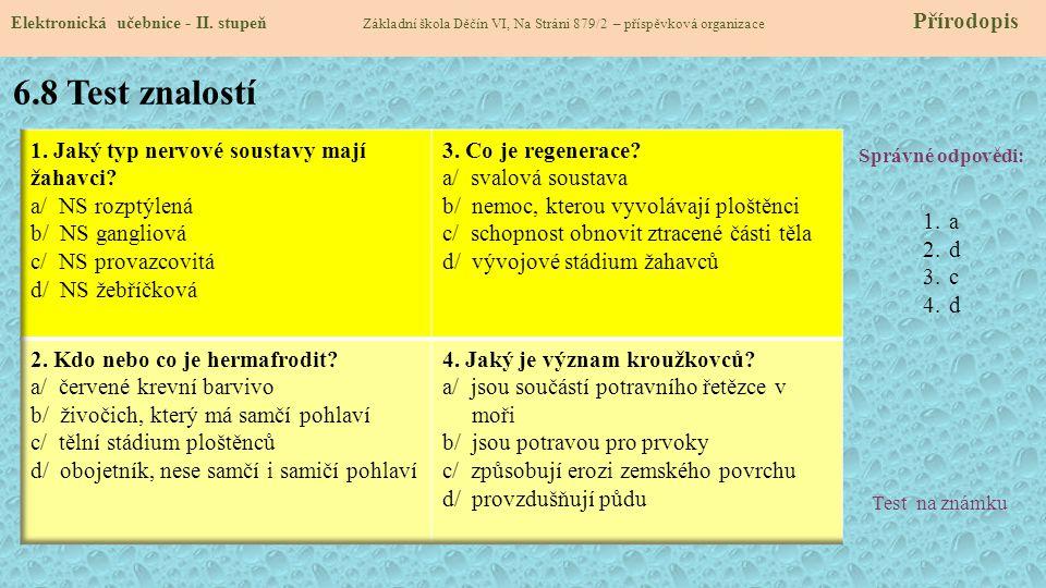 6.8 Test znalostí Správné odpovědi: 1.a 2.d 3.c 4.d Test na známku Elektronická učebnice - II. stupeň Základní škola Děčín VI, Na Stráni 879/2 – přísp