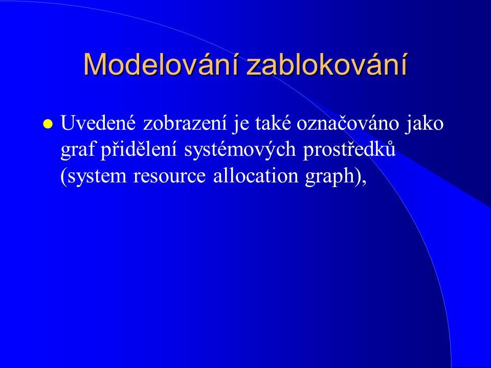 Modelování zablokování l Uvedené zobrazení je také označováno jako graf přidělení systémových prostředků (system resource allocation graph),