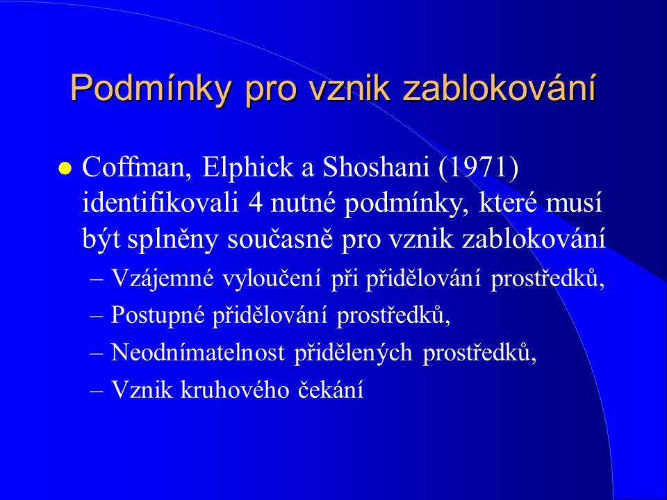 Podmínky pro vznik zablokování l Coffman, Elphick a Shoshani (1971) identifikovali 4 nutné podmínky, které musí být splněny současně pro vznik zabloko