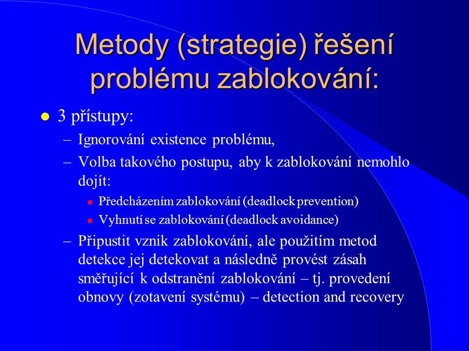 Metody (strategie) řešení problému zablokování: l 3 přístupy: –Ignorování existence problému, –Volba takového postupu, aby k zablokování nemohlo dojít