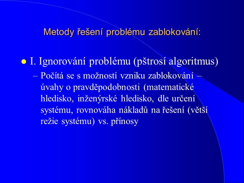 Metody řešení problému zablokování: l I. Ignorování problému (pštrosí algoritmus) –Počítá se s možností vzniku zablokování – úvahy o pravděpodobnosti