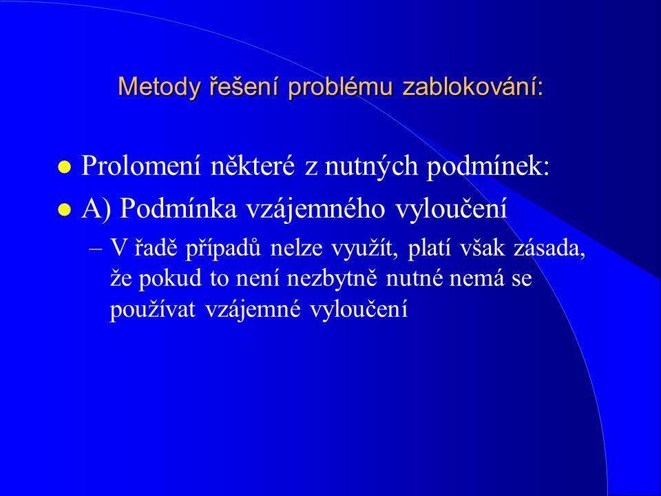 Metody řešení problému zablokování: l Prolomení některé z nutných podmínek: l A) Podmínka vzájemného vyloučení –V řadě případů nelze využít, platí vša