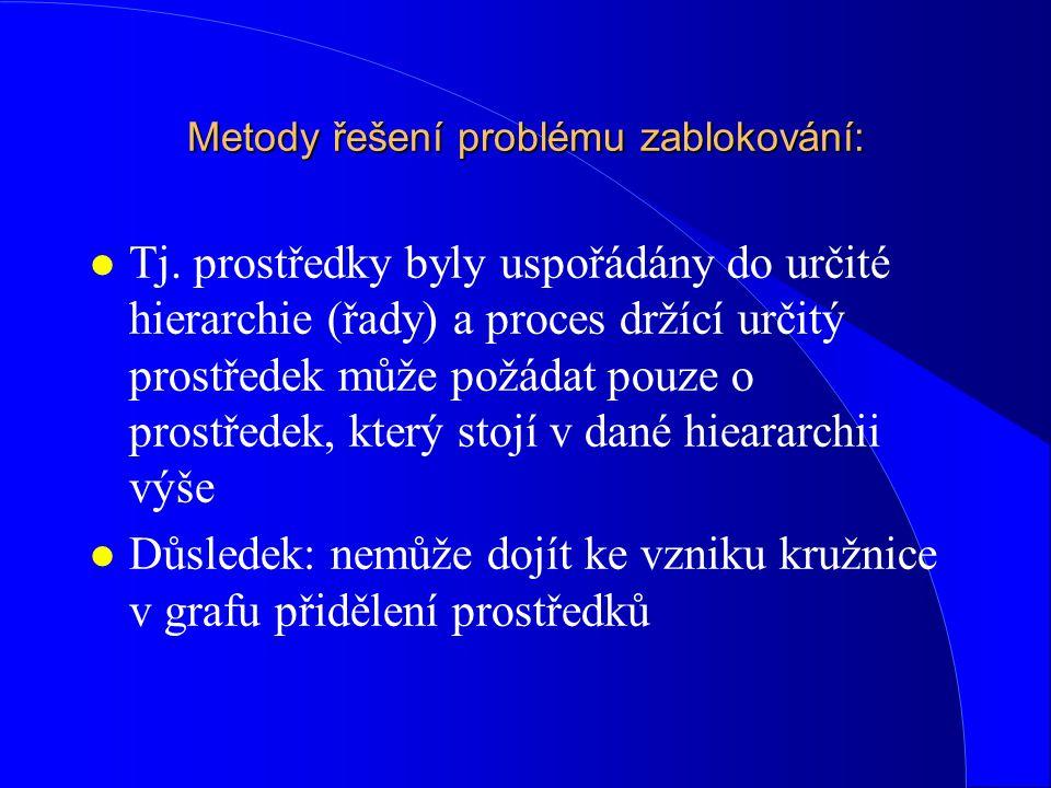 Metody řešení problému zablokování: l Tj. prostředky byly uspořádány do určité hierarchie (řady) a proces držící určitý prostředek může požádat pouze
