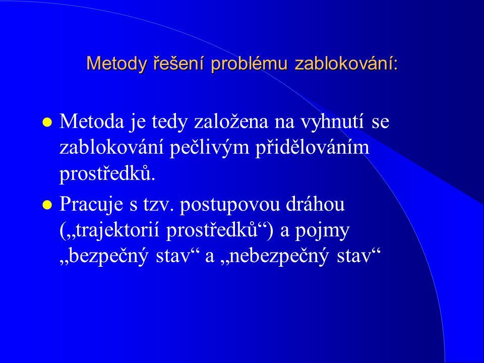 Metody řešení problému zablokování: l Metoda je tedy založena na vyhnutí se zablokování pečlivým přidělováním prostředků. l Pracuje s tzv. postupovou